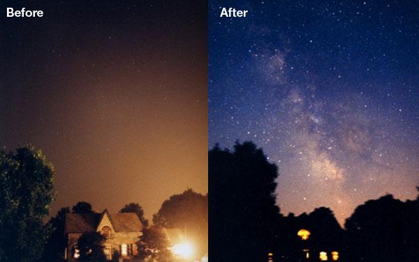 Işık kirliliği karşılaştırması görseli