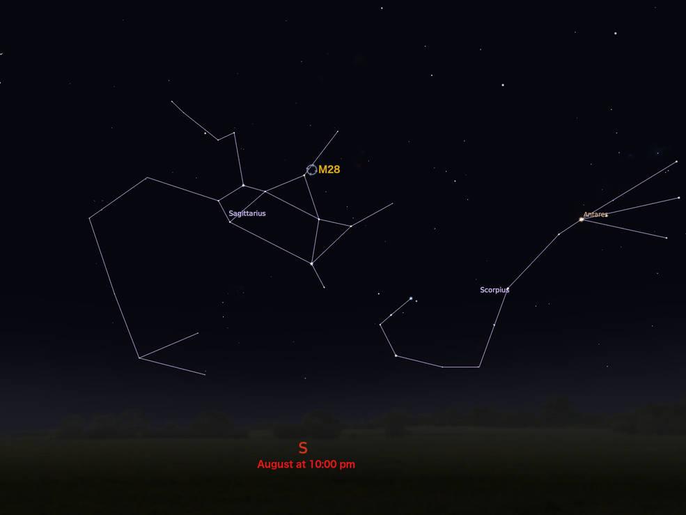 M28'in yay takımyıldızına göre konumunu gösteren çizim