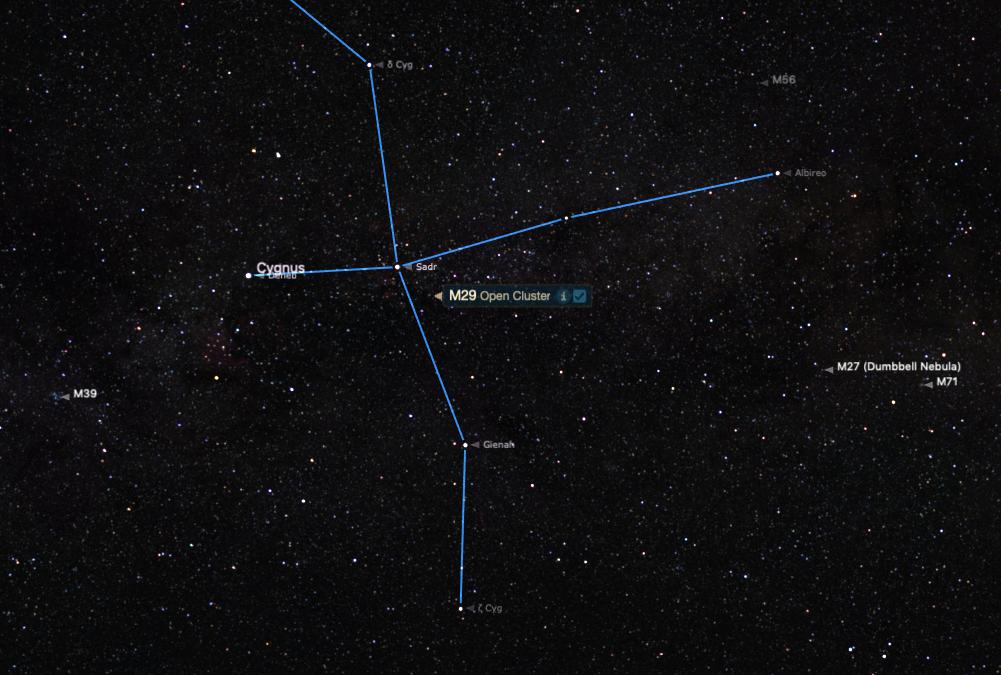 M29'un yeri süper yıldız Sadr'ın çok yakınıdır.
