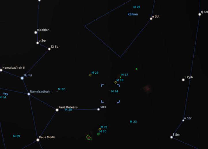 Gökyüzündeki takımyıldızların konumları ve çaydanlık görünümlü Yay takımyıldızına göre üstündeki M24'ün yeri