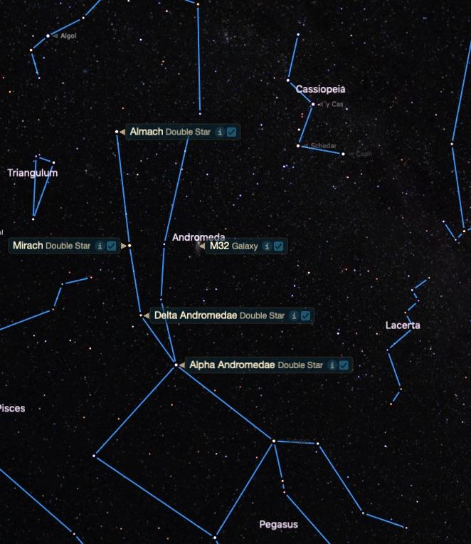Kanatlı At ve Zincirli Prenses takım yıldızlarına göre M32'nin konumu