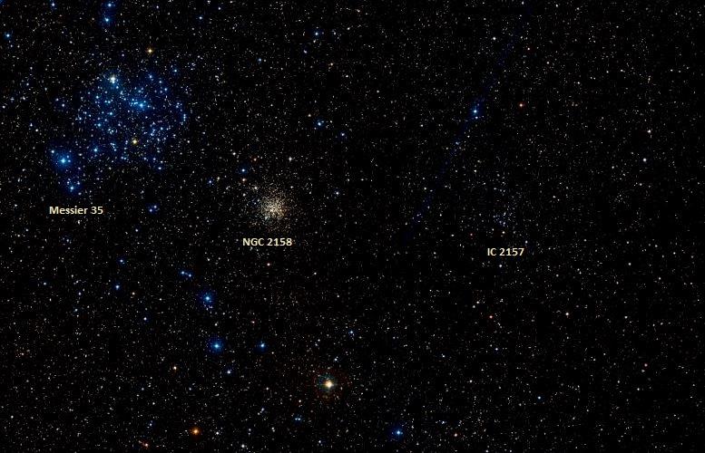 M35, NGC 2158 ve IC 2157. Foto: Wikisky