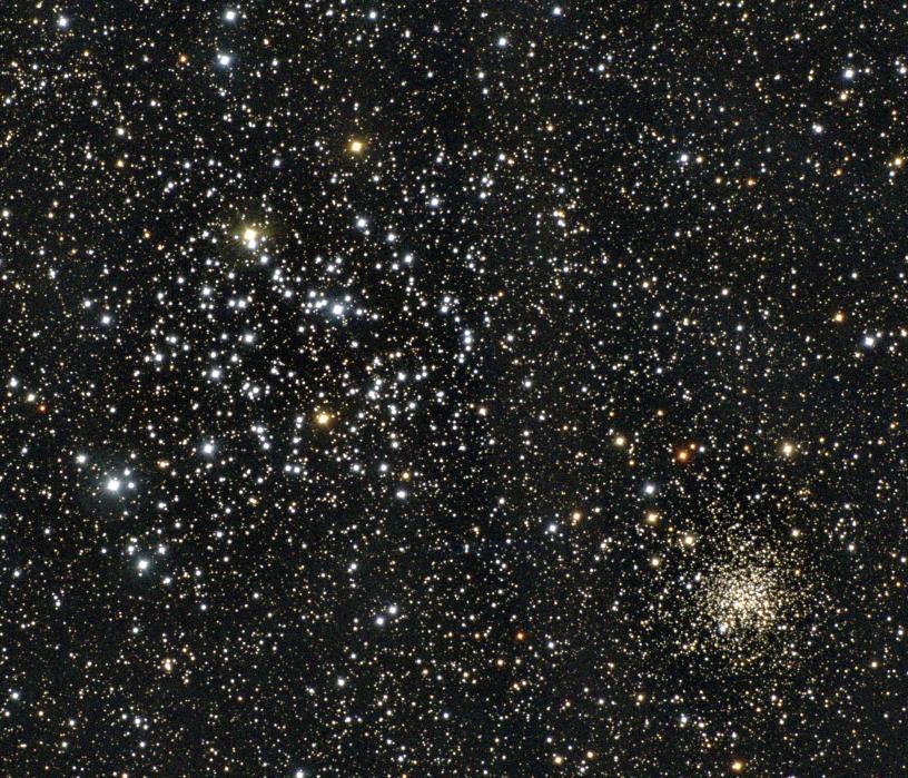 İki ayrı küme gibi görülen altta küresel üstte dağınık yıldız kümesi