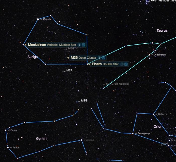 M36'nın yeri. Dürbünle M38 ve M37 ile aynı görüş açısında bulunur.
