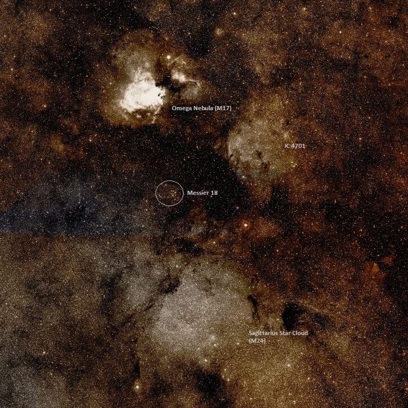 M17 (Omega Nebula), M18 ve M24 (Yay Yıldız Bulutu). Foto: Wikisky