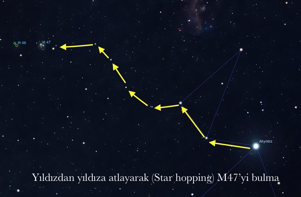 Gökyüzünün en parlak yıldızı Sirius'u kullanarak açık havada İstanbul koşullarında M47'yi bulma yöntemim.