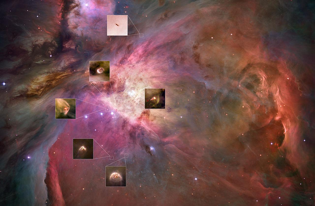 """Orion Bulutsusu, gezegensel sistemlere yeni başlayanlar için incelenecek onbinlerce bölge barındırıyor. Bu fotoğrafda, büyük potansiyele sahip bu mütevazı """"lekelerin"""" altı vurgulanmıştır (yukarıdan aşağıya): 132-1832, 206-446, 180-331, 106-417, 231-838 ve 181-825. Orion'un gazlı kıvrımları içinde, araştırmacılar genç ve biçimlendirici yıldızlar etrafında iki farklı tipte disk tanımlamışlardır: kümedeki en parlak yıldıza yakın olanlar (Theta¹ Orionis C) ve ondan daha uzakta olanlar. Bu parlak yıldız yakındaki disklerdeki gazı ısıtır ve yoğun bir şekilde parlamasını sağlar. Uzaktaki diskler, gazın alevlenmesini ayarlamak için yıldızdan enerjik radyasyon almaz; Böylece, sadece parlak bulutsu arka planına karşı karanlık bir siluet olarak algılanabilir, çünkü bu diskleri çevreleyen toz arka plandaki görünür ışığı emer. Gökbilimciler bu kontrastlı disklerde,  birbirine bağlandığı düşünülen toz taneciklerinin özellikleri ve muhtemelen bizimki gibi gezegenlerin oluşumu üzerine daha iyi çalışma şansı elde ederler. Daha parlak diskler, hareketli malzemede parlayan bir yıldız ile gösterilir ve parlak yıldıza dönük olurlar, ancak bulutsunun içinde rastgele bir yönde görürüz, bu nedenle bazıları kenarda görünür ve diğerlerinin de yüzü dönük olur. Diğer ilginç özelliklerse, ortaya çıkan madde fışkırmaları ve şok dalgaları gibi büyüleyici etkiler nesnelerin görüntüsünü arttırır. Dramatik şok dalgaları, yakındaki büyük yıldızdan gelen yıldız rüzgarı, bulutsunun içindeki gazla çarpıştığında, bumerang veya ok şekilleri oluşturur."""