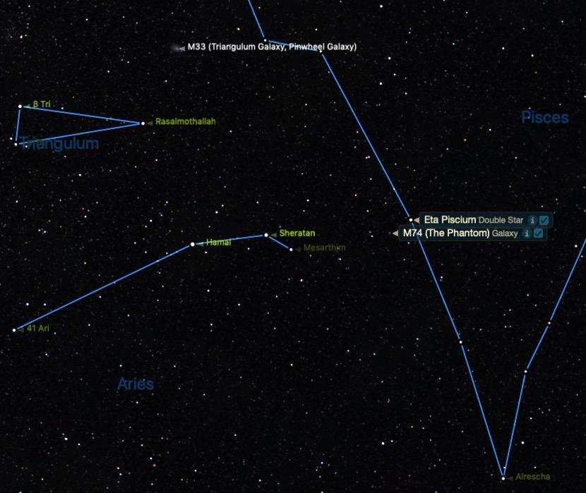 Mavi çizgili Koç ve Balık burcunun yıldızlarının arasındaki Balık takımyıldızına yakın M74'ün yeri.