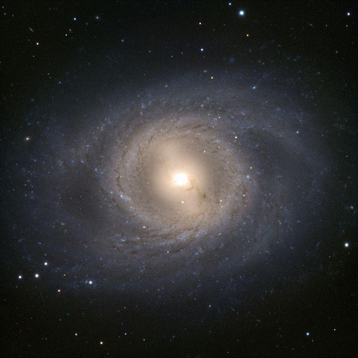 """Çok Büyük Teleskop VLT, Aslan takımyıldızında, Leo I grubunun bir başka üyesini yakaladı. M95 Gökadası, cesurca yüzü dönük bir şekilde durur ve sarmal yapısının ideal bir görüntüsünü sunar. Sarmal kollar, yayılmadan önce galaktik merkezin etrafında neredeyse kusursuz bir daire oluşturur ve herhangi bir aslanın gurur duyacağı yele benzeri bir etki yaratır. M95'in belki de daha çarpıcı bir başka özelliği de yanan altın çekirdeğidir. Gökadanın yıldız oluşumunun büyük bir bölümünün gerçekleştiği, neredeyse 2000 ışık yılı boyunca nükleer yıldız oluşturan bir halka içerir. Bu fenomen çoğunlukla M95 ve evimiz Samanyolu gibi çubuk sarmal gökadalarda görülür.  Leo I grubunda, M95, kardeşi M96 tarafından reddedilmiştir (bkz. Potw1143). Aslında M96, grubun en parlak üyesidir ve """"gururun lideri"""" olarak, Leo I'e M 96 grubunun alternatif adını da verir. Bununla birlikte, M95 muhteşem bir görüntü yaratıyor. Fotoğraf: ESO"""