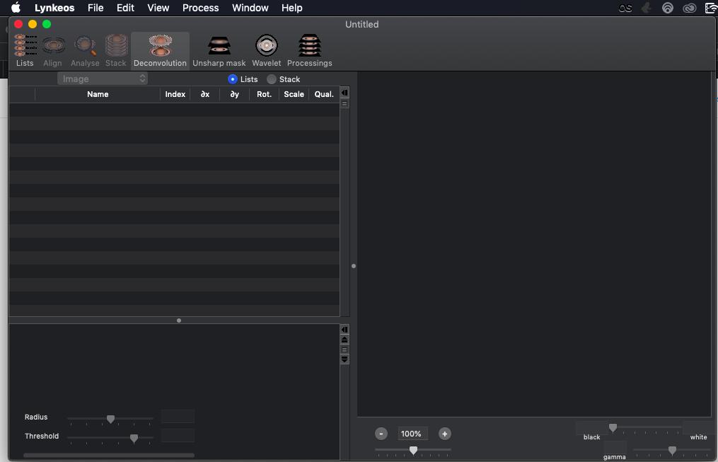 Foto istif için MacOS'da Lynkeos uygulaması