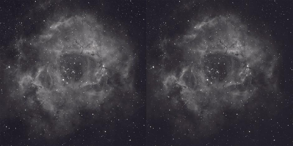 Rozet Bulutsusu, hidrojen alfada, koyu çerçeve kalibrasyonundan önce (solda) ve uygulandıktan sonra ısısal gürültü azaltılmış haliyle (sağda). Fotoğraf: Steve Richards
