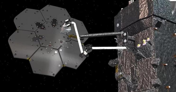 Uzayda uzay aracı inşaası, bakımı ve yakıt ikmali gibi çalışmaları kendi başına yapacak robot kolu SPIDER görseli